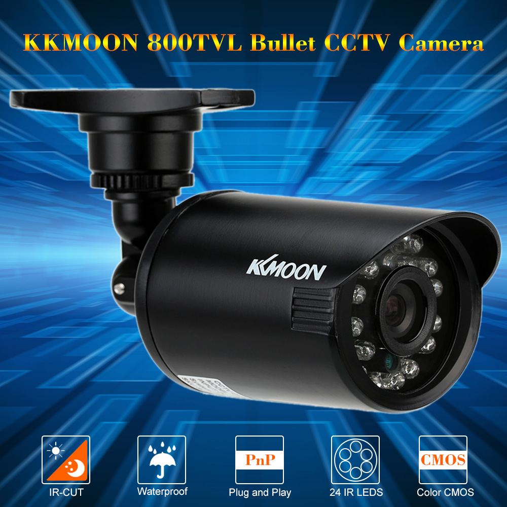 KKMOON Waterproof 800TVL CCTV Camera Outdoor Bullet Security Camera IR-CUT Infrared Night Vision 24 IR LEDS Surveillance Camera(China (Mainland))