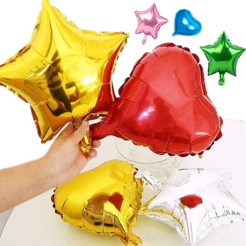 1pcs 10inch 25cm foil balloon 9 colors heart shape for 7 star balloon decoration