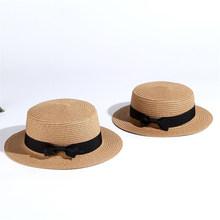 2019 الصيف بسيط الوالدين والطفل قبعة للشاطئ الإناث عادية بنما قبعة سيدة ماركة النساء شقة حافة Bowknot قبعة من القش الفتيات قبعة الشمس(China)