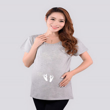 Pregnancy Clothing Plus Size Cotton Baby Foot-Print Summer Maternity T-shirt For Pregnant Women New Design Ladies Pregnant Tees(China (Mainland))