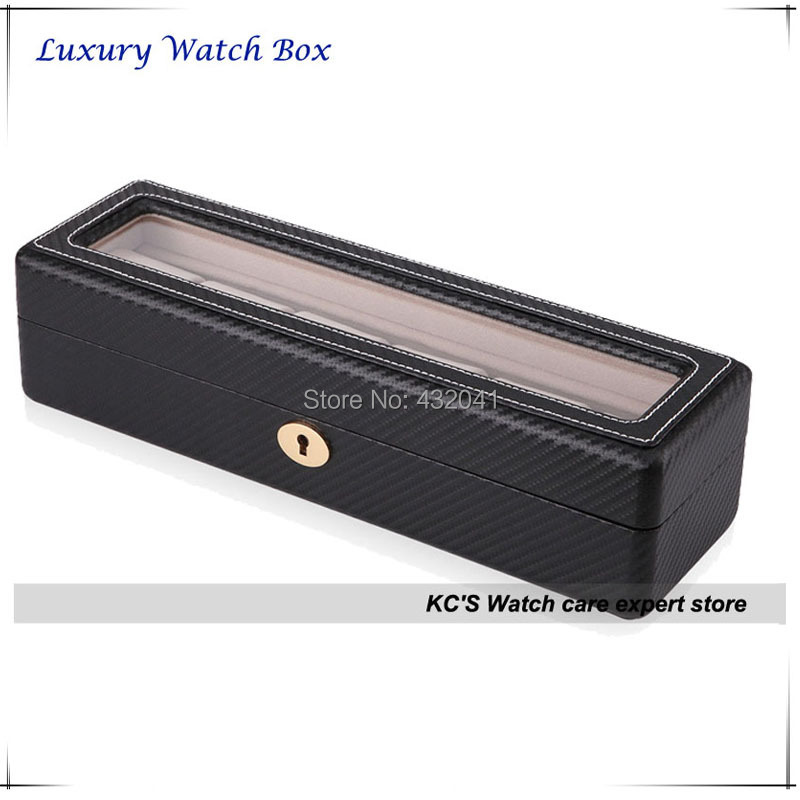 High Quality Black Carbon Fibre Finish 6 Grid Wood Watch Case Watch Gift Show Case Box Storage Organizer Holder GC02-TP-06W(China (Mainland))