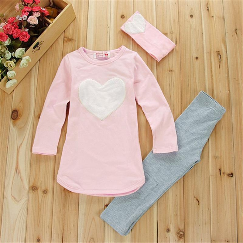 2017 New Girl Clothing Set (Hairband+Shirts+Pants) Long Sleeve Girls Clothes Suits Pink Red Heart Pattern Kids Clothes(China (Mainland))