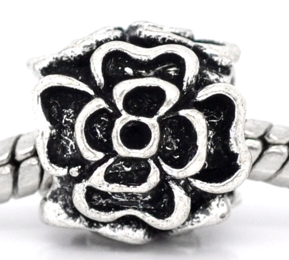 Antique Silver Flower Charm Beads Fit European Charm 10x10mm,sold per packer of 20 2015 new(China (Mainland))
