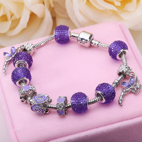 Authentic 925 Silver Charm Fit Pandora Bracelet Pulseira with Purple Beads Snake Chain Bracelet for Women Jewelry PS3155(China (Mainland))