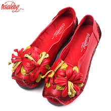 Buy New National Wind Flowers Handmade Genuine Leather Shoes Women Retro Soft Bottom Flat Shoes Summer Canvas Ballet Flats for $20.49 in AliExpress store