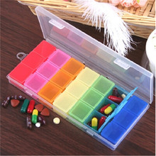 MINI Portable rainbow Candy Colors 1 week 21 Sort Folding Medicine Pill Box Makeup Storage Case Container Pill Case Splitters(China (Mainland))