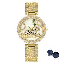 Papel moda feminina relógios 2019 melhor vender leopardo relógio de luxo 18 k ouro feminino diamante quartzo feminino relógios de pulso dropshipping(China)
