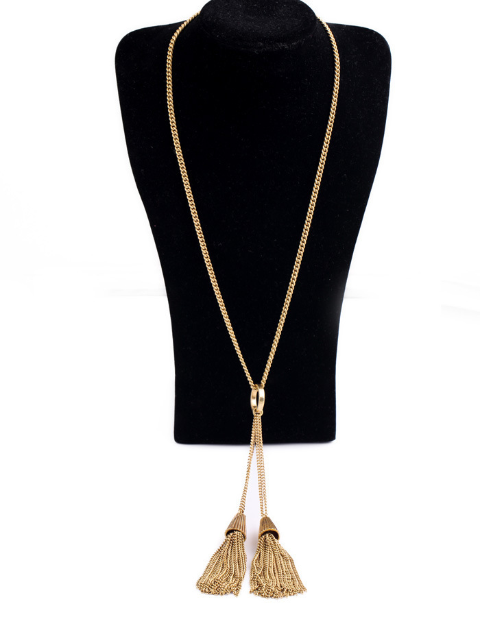 Necklace Women 2014 Gold Chains Jewelry Double Tassel 18k Solid Gold Chains Tassel Pendant Necklace N2433(China (Mainland))