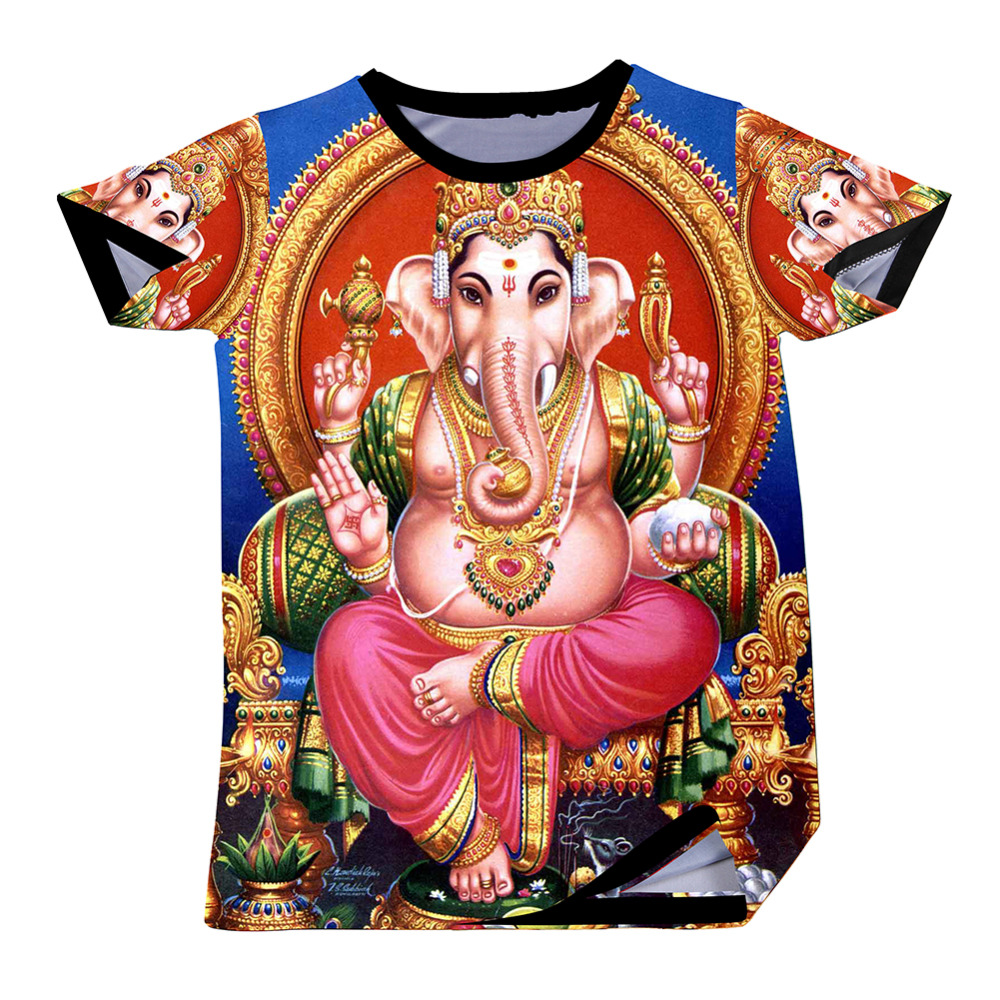 Men T Shirts New Style Fashion Ganesha Elephant Printed T-shirts Funny Design O Neck Tee Top(China (Mainland))