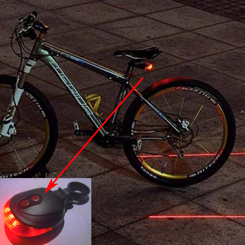 5LED 2Laser Cycling Bicycle Bike light 7 Flash Mode Safety Rear Lamp waterproof Laser Tail Warning Lamp Flashing 5 led 2 laser(China (Mainland))