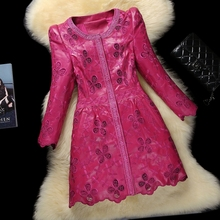 Spring Ladies' Genuine Natural Sheepskin Leather Coat with Embroidery Trench Outerwear Coats Plus Size VF0397(China (Mainland))