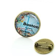 TAFREE Terra di vendita Calda spilla pins globo del mondo mappa della città dei monili piastrelle di Vetro perni di New York Boston mappa badge per delle donne degli uomini di D724(China)
