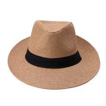 حار موضة الصيف عادية للجنسين شاطئ تريلبي كبير حافة الجاز قبعة الشمس بنما قبعة ورقة القش النساء الرجال قبعة مع شريط أسود(China)
