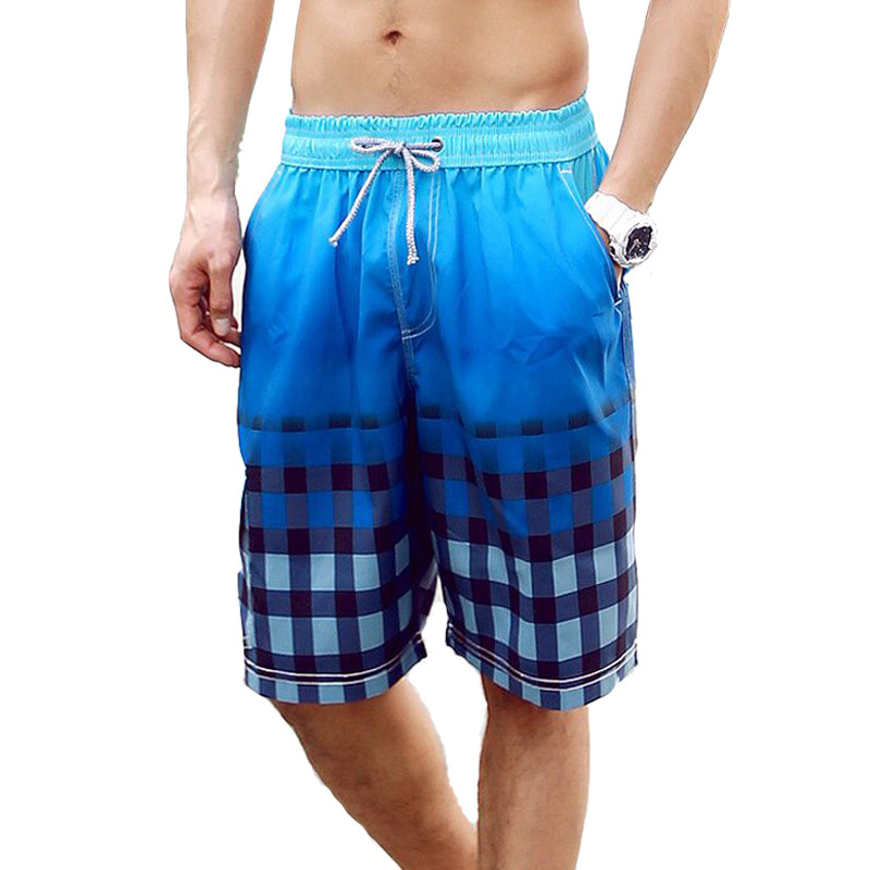 2016 New Summer Men Shorts Gradient Plaid Bermuda Homme Outdoor Elastic Waist Quick Dry Mens Boardshorts - Romantic Beachwear store