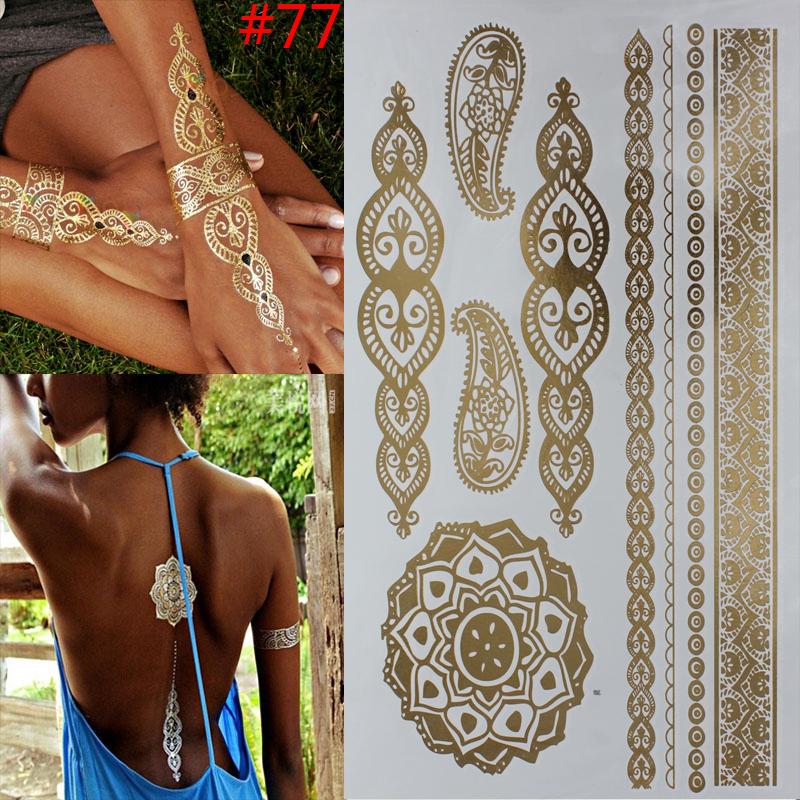 wholesale temporary 3D tattoo Gold tattoo Flash tattoos women arm golden silver flower body art sticker