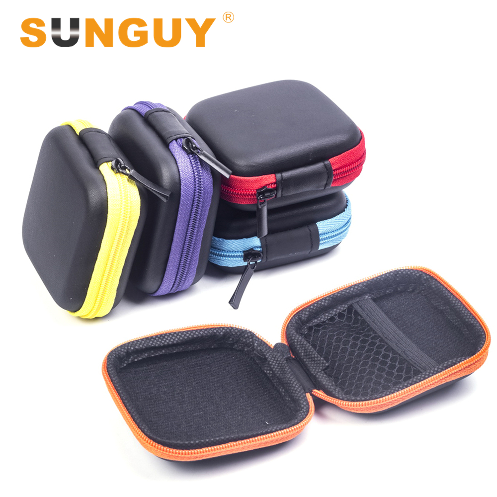 SUNGUY (2pcs/lot) Portable Mini In-ear Earphone Cases EVA Square Earbuds Headset Carry Bags Multicolors(China (Mainland))