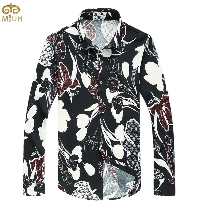 Super Large Size Floral Camisa Masculina 6XL 5XL Brand Fitness Long Sleeve Chemise Homme Slim Fit Flower Hawaiian Shirt 2016 New(China (Mainland))