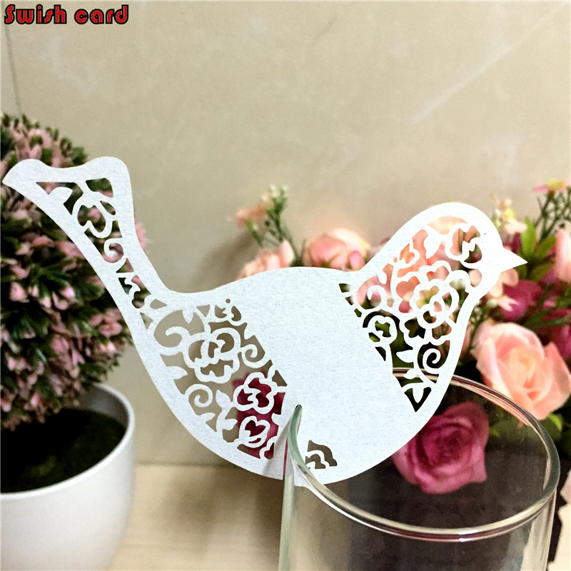 50pcs laser cutting vine bird Escort Cup Card Wine Glass Card paper place card party wedding decorations baby shower souvenirs(China (Mainland))