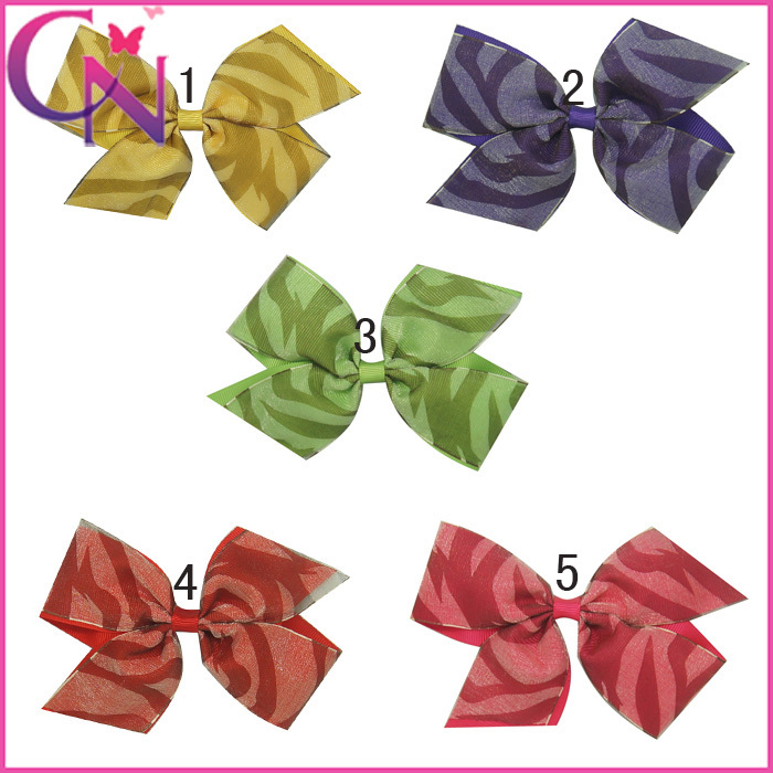 High Quality Print Accesories For Kids Hair Bows With Clip Cute Hairbow With Zebra Print 5pc/lot 5Color5'' Free Shipping(China (Mainland))