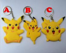 3PCS New 2016 anime Pokemon kids toy Pikachu Catoon pvc Action Figure Model toys Keychain Pendant Chaveiro Key Ring gift