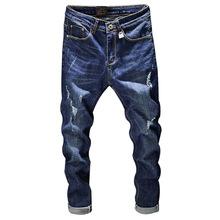 2019 Dos Homens Novos de Moda Buracos Afligido Jeans Men Casual Algodão Fino Azul Calças Compridas Outono Dos Homens Denim Jeans Motociclista calças de brim(China)