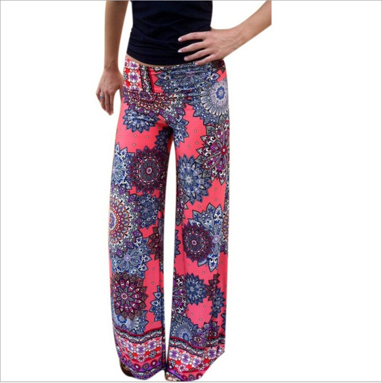 S-XL New Brand Design summer-Autumn Coming Print Striped Flower Fashion High Elastic Waist Leg Full Length Pants - Buy Your Want To store