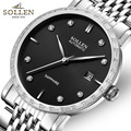 SOLLEN Men s automatic mechanical watch ultra thin diamond watch scale metal strap calendar display case