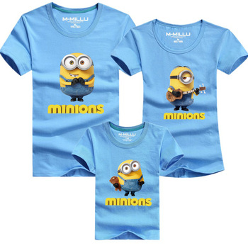 Family matching outfits minions t shirts new fashion tees 1 piece new family look cotton minion father mother and kids t-shirts