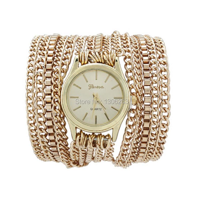 New Fashion Geneva Quartz Stainless Bracelet Watch Women Dress Watches Casual Gold Chain Steel Wristwatches Relojes Mujer 2015<br><br>Aliexpress