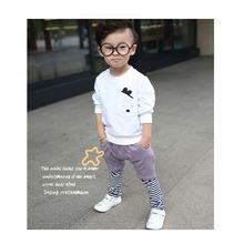 New autumn children - children's cartoon cotton long sleeved pants suit baby boy clothes white grey beige(China (Mainland))