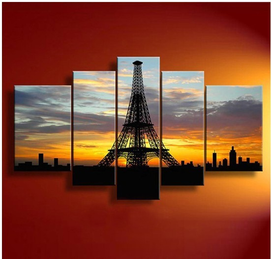 5 panel eiffel tower in paris high quality modern wall art home decoration oil painting on - The house on the corner contemporary paris ...