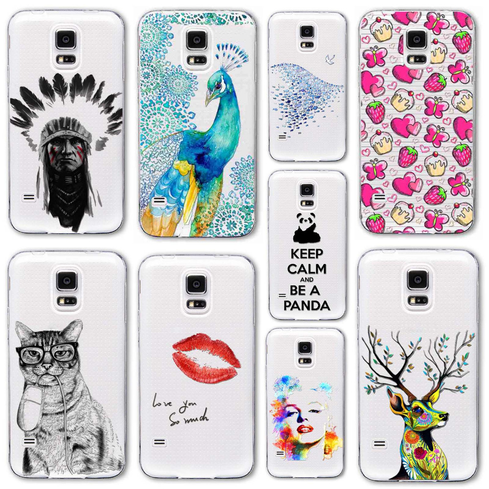 For Samsung Galaxy S5 i9600 Super Slim TPU Gel Silicon Phone Case Print Back Protect Rubber