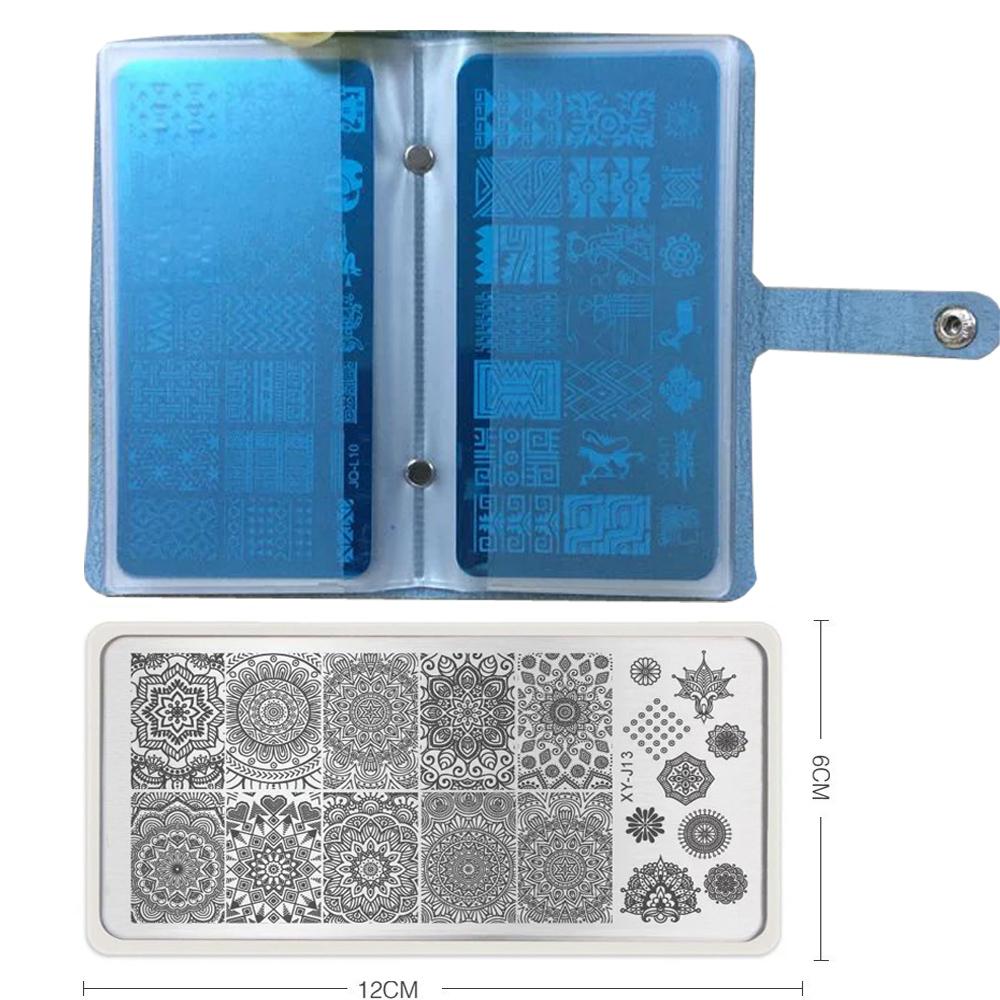 2016 New Creative 20 Slots Rectangular Nail Plates Stamping Stamp Holder color Nail Art Templates Polish Carimbo Stencil Bags(China (Mainland))