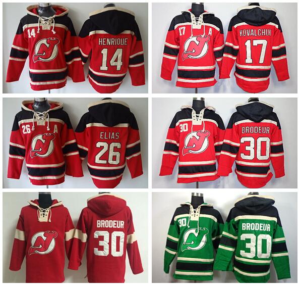 New Jersey Devils 30 Martin Brodeur Hooded 26 Patrik Elias Pullover Sweatshirt 14 Adam Henrique Hockey Hoodies 17 Ilya Kovalchuk(China (Mainland))