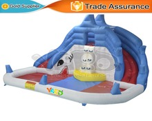 YARD Shark Inflatable Slide with Cannons Outdoor Water Park Swimming Pool for Kids