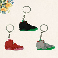 Cute Yeezy 2 Mini Silicone Key Chain Woman Kids Key Rings Gifts Sneaker Key Holder Jordan Shoes Keychain(China (Mainland))