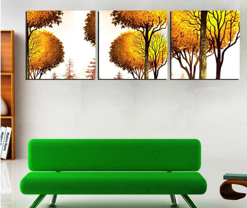 Modern Landscape Yellow Style Trees Art Painting For Dining Room Chinese Painting Decor Hot Sale