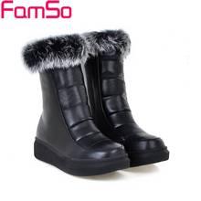 Más el Tamaño 34-43 2017 nueva Negro Rusia Invierno borla botas Plataformas de mitad de la pantorrilla Invierno al aire libre A Prueba de agua Nieve botas Zapatos SBT4312(China (Mainland))