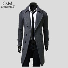 Men Fashion Overcoat Trench Coat Autumn Winter Long Overcoat Double Breasted Woolen Outerwear Man 2015 New B4(China (Mainland))