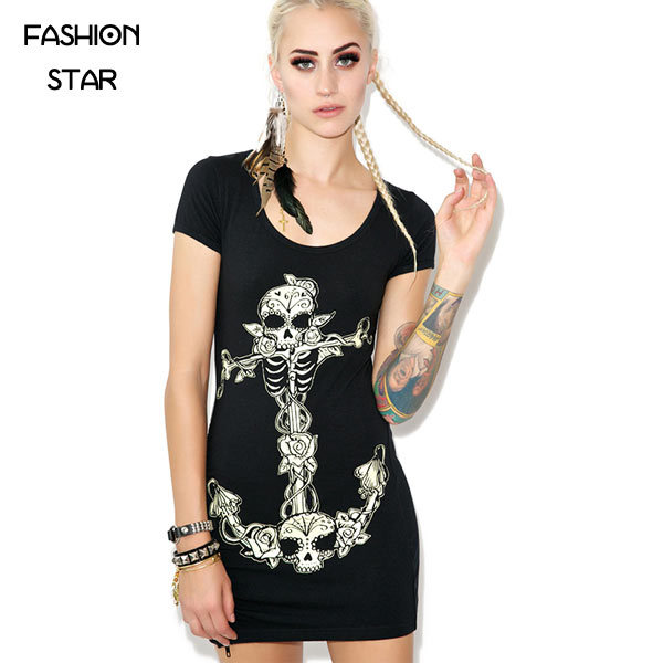 1 Piece Cotton Women's Summer Plus Size Sexy Zipper Jag Backless Slim Skull Printing Dress Lady Fashion Party Street Dress(China (Mainland))