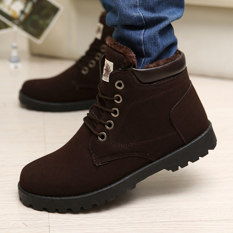 2015 new Winter plus velvet men snow boots warm cotton-padded shoes matte suede ankle boots lacing up casual sneakers a349(China (Mainland))