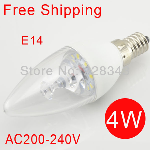 10pcs/lot led candle light E14 led bulb 4W SMD 2835 220V-240V 400lm Warm White / Cool White CE&ROHS Free Shipping / China post(China (Mainland))