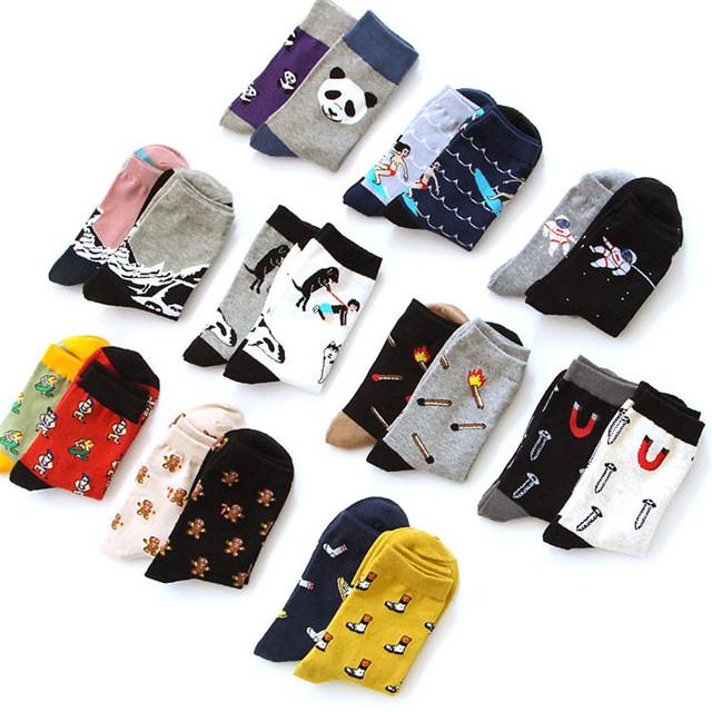 Новинка нейтральный иллюстрации трубке носки творческих женщин мужчины панда серфинг космонавты мультфильм носок смешные пара чистого хлопка носки