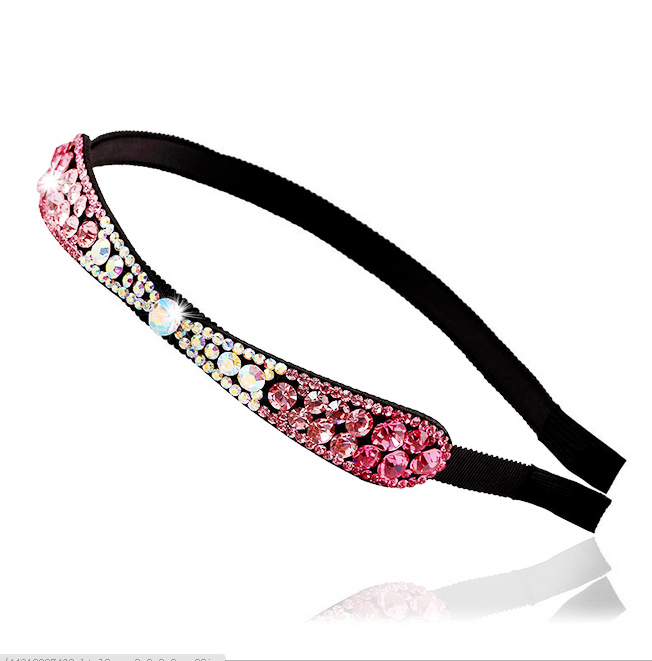 High-grade Office Lady Style Girl Hair Hoop Thin Side Bow Full Rhinestone Hair Band Simple Original Handmade Head Hoop For Women(China (Mainland))