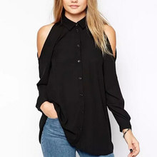 Women off shoulder long shirts sexy chiffon tops turn down collar blouse Blusas Femininas long sleeve casual plus size LT426(China (Mainland))