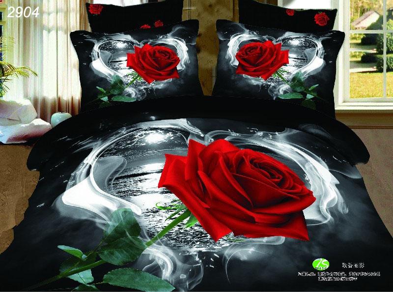 One red rose river heart black 3D 100% cotton quality 4pcs wedding lover comforter/duvet/quilt cover bedspread set bedlinen/2904(China (Mainland))