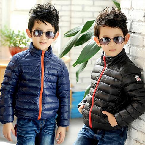 2014  winter causal fashion children cotton coat white goose down zipper jacket boys Slim-line Stand collar jackets for children<br><br>Aliexpress
