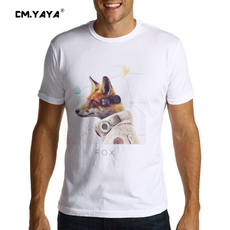 CM.YAYA STAR TEAM FOX Print casual plus size men's summer short sleeve brand t shirt 1606756(China (Mainland))