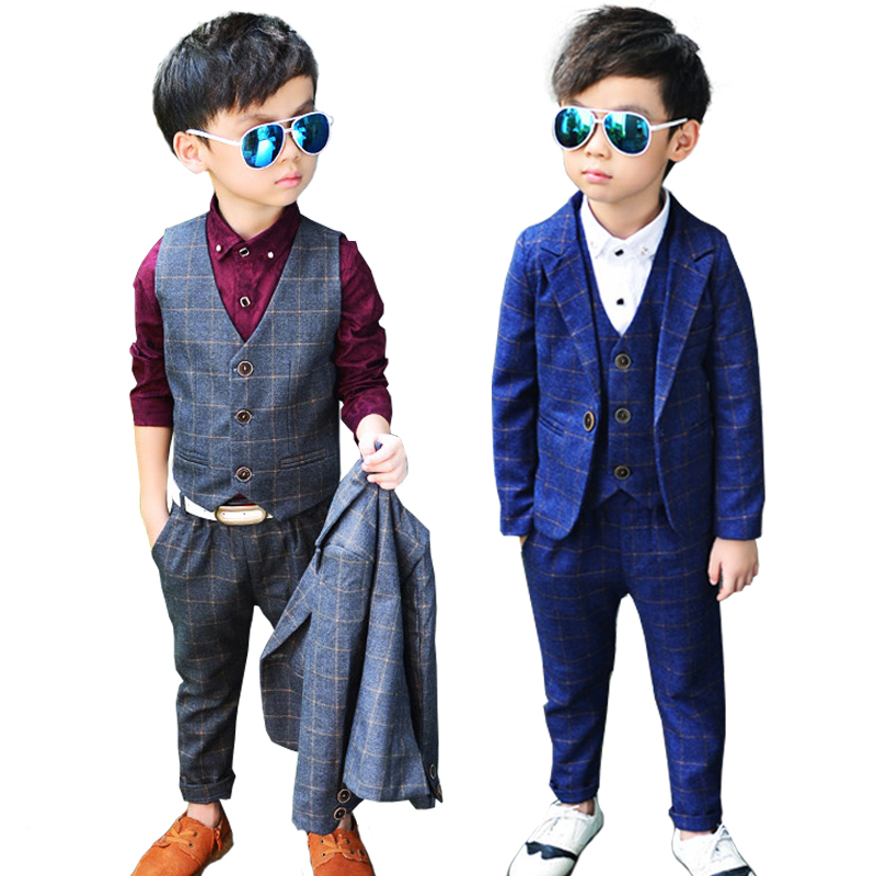 Boys Spring Blazers jackets sets 3 Pieces Clothing Kids Wedding suits Baby Autumn clothes Child Blazer suit set - Super Costumes store