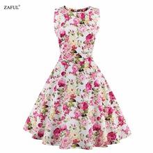 Buy Women Summer Dress 2016 Plus Size Vintage Floral Print 50s 60s Style Dress Women O-neck Sleeveless Party Clubwear Formal Dress for $13.84 in AliExpress store